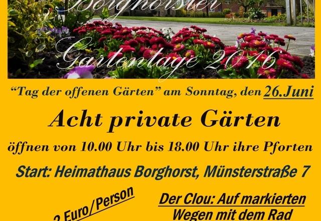 Borghorster Gartentage und Gartentour 2016